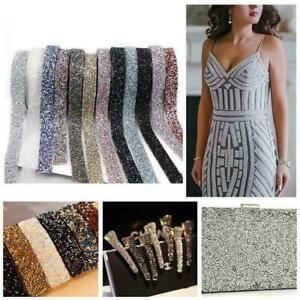 Bling-Crystal-Rhinestone-Chain-Trim-Ribbon-Craft-DIY-Wedding-Sewing-Dress-C9G6