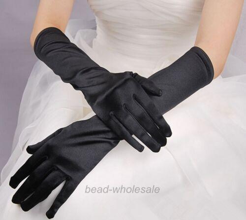 LADIES SATIN PARTY DRESS PROM EVENING WEDDING BRISAL LONG FINGER GLOVES