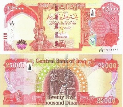 Iraqi Dinar 25,000 Crisp Hybrid UNC w// New Security 1x25,000 2014 Fast Ship!
