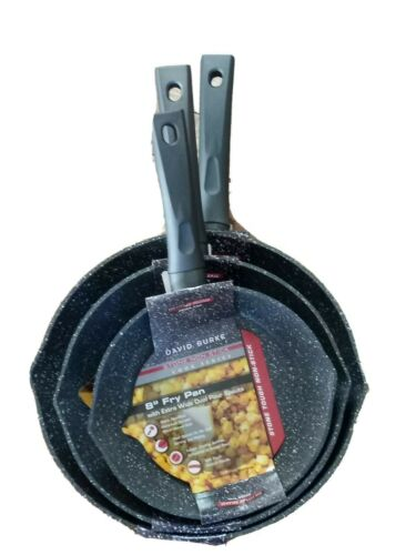 "David Burke 3pc Skillet Fry Pan Set Stone 11/"" 9.5/"" /& 8/"" Cook Series Professional"