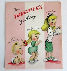 Image Is Loading Vintage Daughter Birthday Card Greetings Inc Rollerskating Embossed
