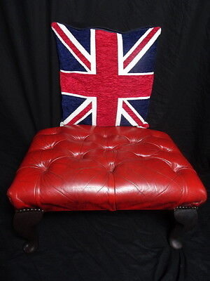 Traditional Chesterfield Style Fine Leather Oxblood Red Footstool