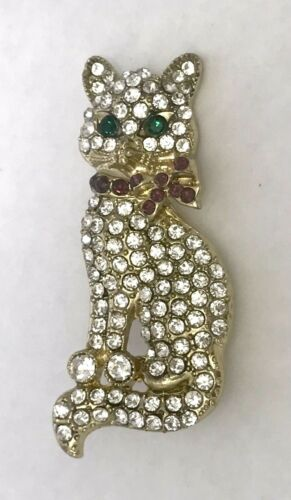 Vintage Monet Pave Crystal Cat Brooch Signed/ Cry