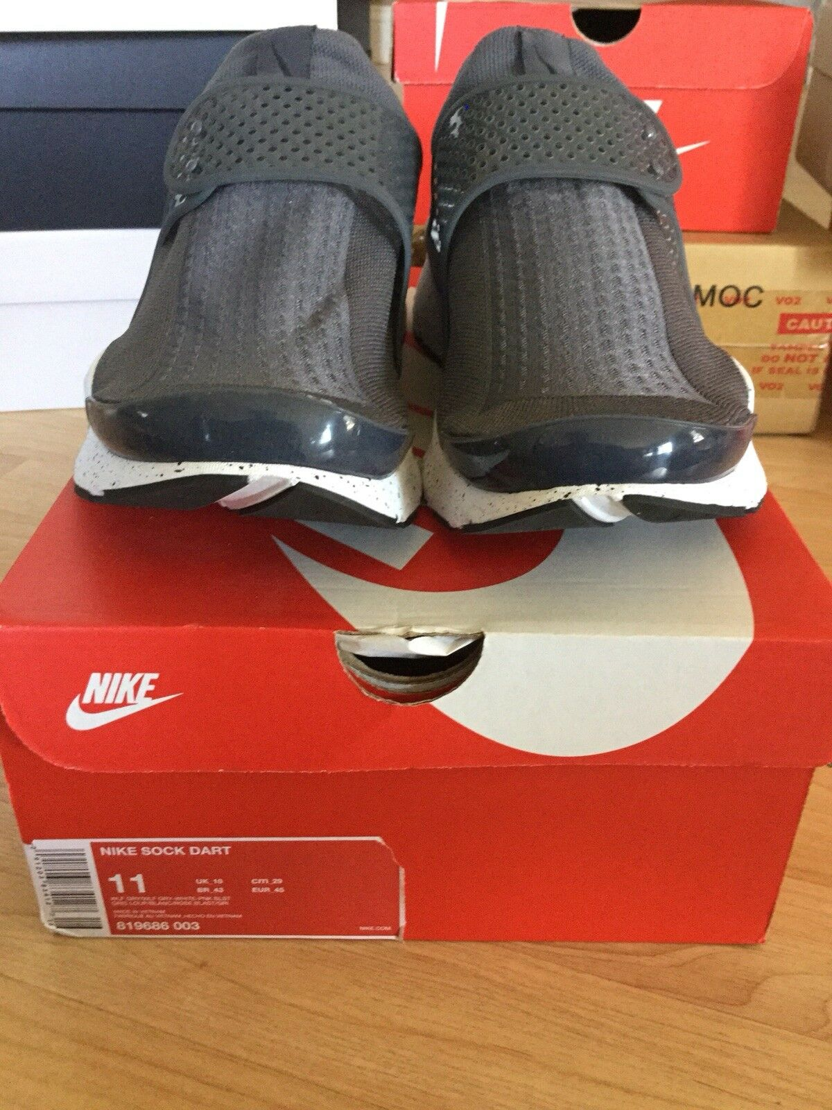 MEN'S NIKE SOCK DART WOLF SHOES  819686 003 WOLF DART GREY & WHITE SIZE 11 ebcede