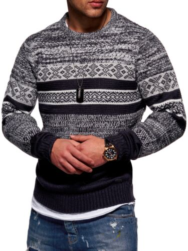 Herren Pullover Strickjacke Strickpullover Sweatshirt Norweger Strick Pulli NEU