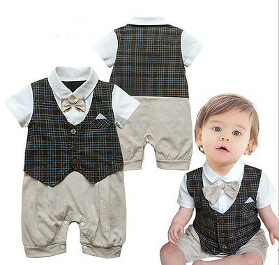 1pc Infant Toddler Boy Baby Bowknot Gentleman Romper Jumpsuit Outfit Clothes