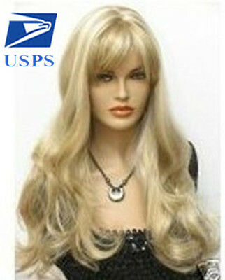Blonde Sexy New Light Curly Women Hair Full Wigs Bangs Wig Cosplay Wavy Long