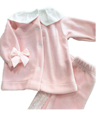 FRUIT DE MA PASSION Baby Girls Spanish Style Velour Top /& Bottoms Outfit Set