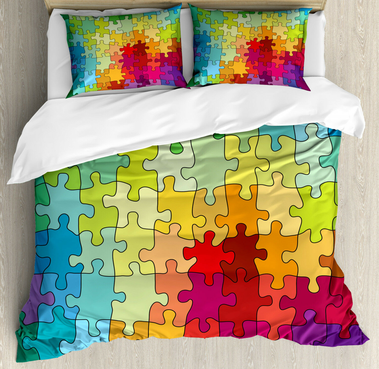 Abstract Duvet Cover Set with Pillow Shams colord Hobby Puzzle Print