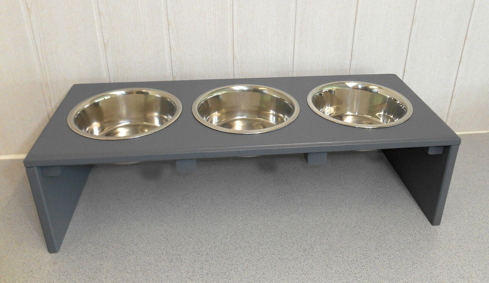 Hundenapf   Hundebar   Futternapf 3 Näpfe, grau, Jede Farbe möglich (114e)  | Fairer Preis