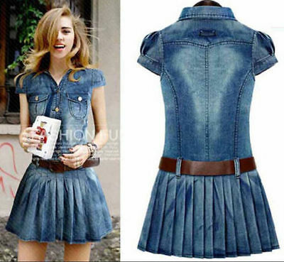 Women's Sleeveless Short Sleeve Dress Skirts Denim Cotton Jean Belt Plus size