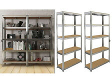 2 X 5 TIER SHELVING UNIT STORAGE HEAVY DUTY RACKING SHELF SHELVES SHED METAL SET