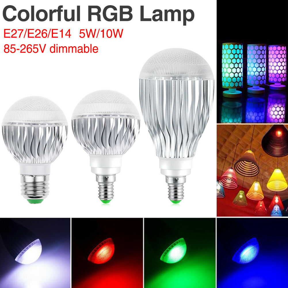 DIMMBARE E27 E26 E14 RGB BIRNE LED LICHT 5 10W FARBWECHSEL LAMPEN+ IR CONTROLLER