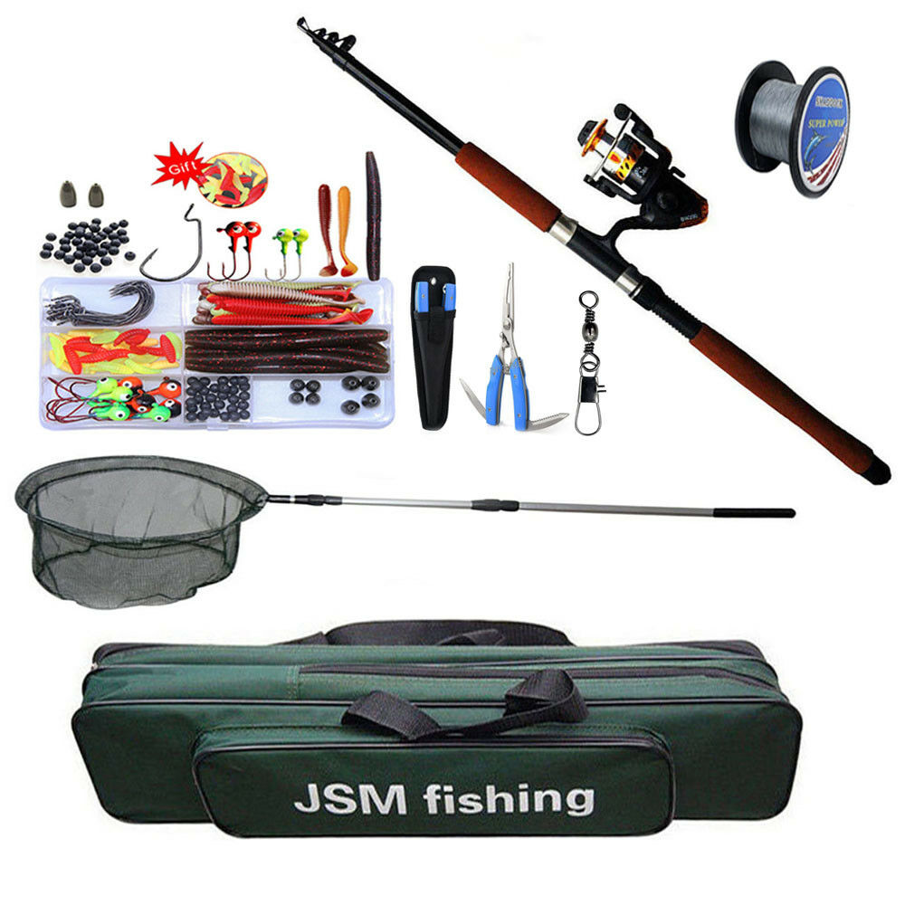 Spinning Combos Fishing Rod and Reel Hand  Net Full Set Rod Lure Line Swivel Kit  special offer