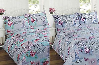 Parisienne Pink Lila Blumen Eiffel Französisch Flickwerk Bettwäsche Set Um 50 Prozent Reduziert Bettwäschegarnituren Bettwäsche