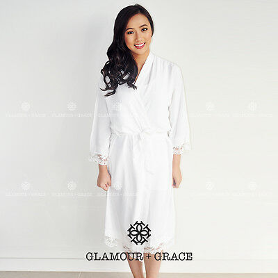 6e8b93da16 Details about CUSTOM Personalised Printed Bridal Cotton Lace Robe Bride  Dressing Gown Wedding