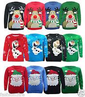 Kids XMAS Unisex Girls Boys Santa Rudolph Snowman Christmas Jumpers 5-12 Yr