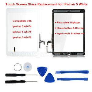 White-Touch-Screen-Glass-Lens-Replacement-Digitizer-IC-chip-Home-For-iPad-Air-5