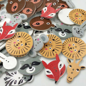 New-50-100pcs-Mix-Animal-Wood-Buttons-Sewing-Mix-Lots-WB237