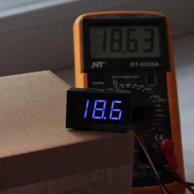 1PCS DC 0-30V 3 Digital Voltage Voltmeter Blue LED Display Motorcycle Panel #2