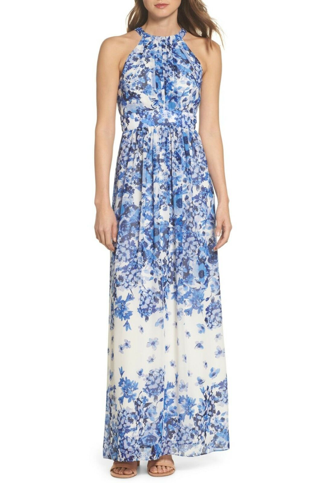 Eliza J Floral Halter Neck Maxi Dress (Größe 16)