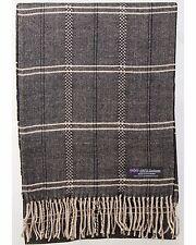 100% Cashmere Scarf Brown Beige Tartan Check Plaid SCOTLAND Wool Women R61 Wrap
