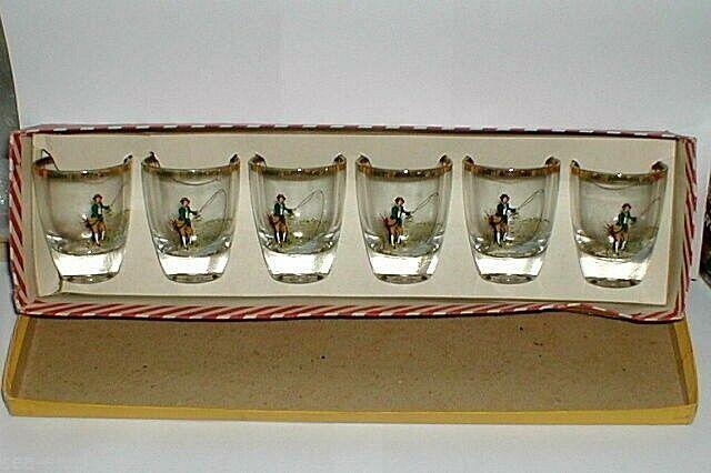 FISHING, FISHERMAN  DECORATED  SHOT  GLASSES, 1960's, Mint Cond.Stunning, V.Rare