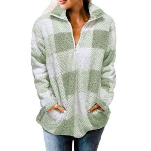 Womens Fleece Fluffy Sweater Comfy Casual Winter Warm Teddy Bear Pullover Tops