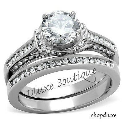 2.75 Ct Round Cut AAA CZ Stainless Steel Wedding Ring Band Set Women's Size 5-11