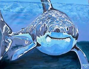 Shark-Original-Fine-Art-PAINTING-DAN-BYL-Modern-Contemporary-Canvas-Large-4x5-ft