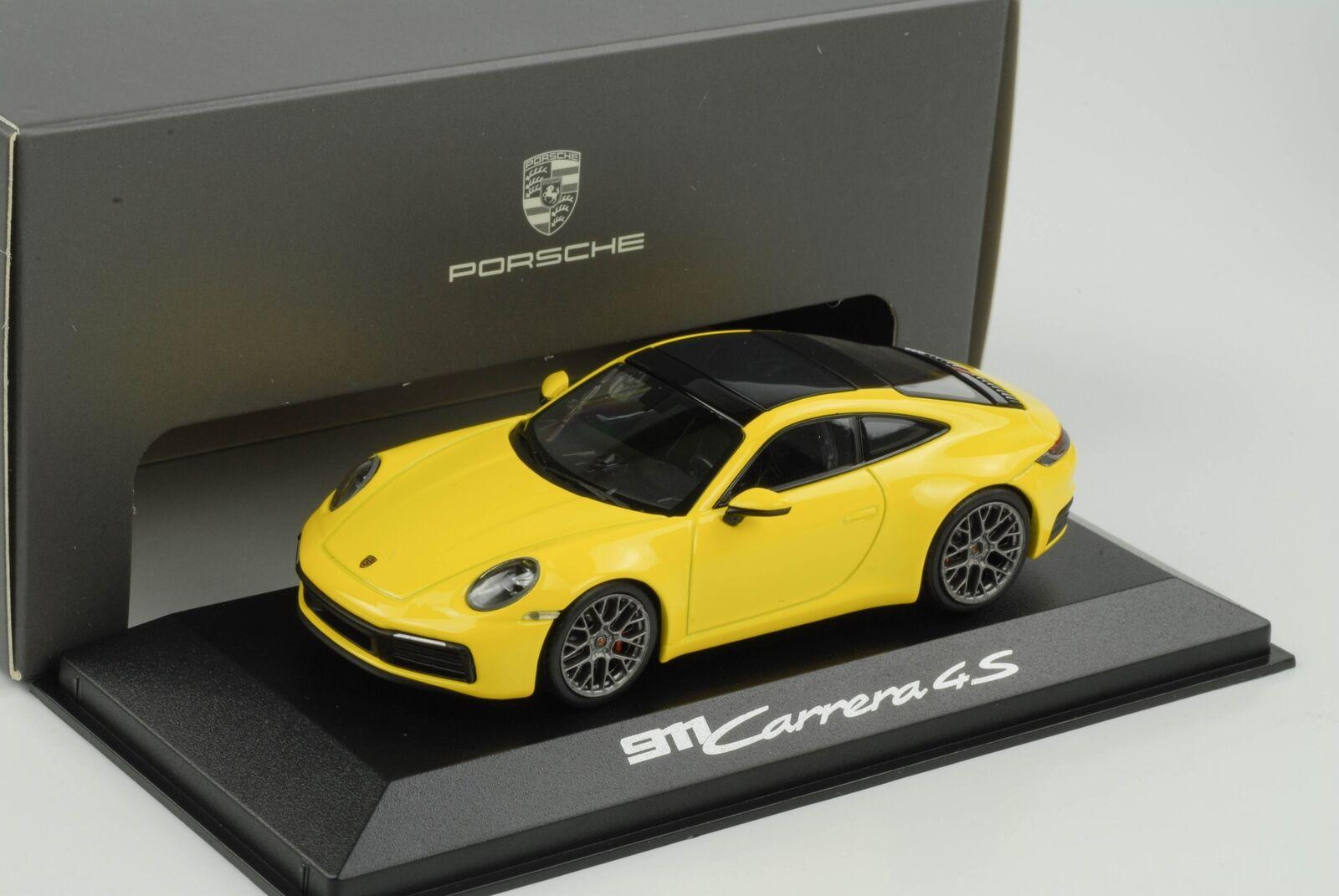 Porsche 911 992 Carrera S Racing jaune 1 43 Minichamps WAP Dealer