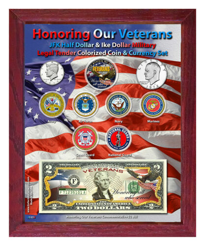 """Honoring Our Veterans Colorized Coin /& Currency Set in 8/"""" x 10/"""" Frame"""