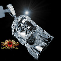 White Gold Finish Real Diamond Jesus Face Piece Head Pendant Charm 2.75 Inch