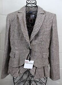 RED-VALENTINO-Pink-Gray-Ivory-Tweed-Wool-Blend-Bird-Lining-Ruffle-Blazer-Jacket