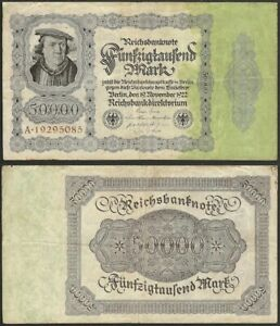 GERMANY-50-000-mark-1922-P-79-Europe-banknote-Edelweiss-Coins