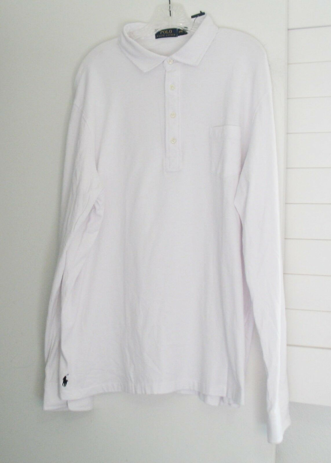 76cb543fad5 Polo Ralph Mens Jersey Long Sleeve Shirt White Sz XL - NWT Lauren ...