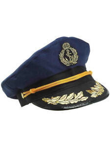 d1a1b9b8e Details about Deluxe Blue Yacht Captain Nautical Sailor Hat Navy Cap