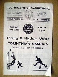 Isthmian-League-1966-67-TOOTING-amp-MITCHAM-v-CORINTHIAN-CASUALS-24-Sept