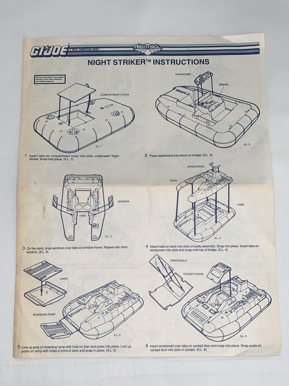 GI Joe 1988 Night Force NIGHT STRIKER bluprints 100% Original Instructions