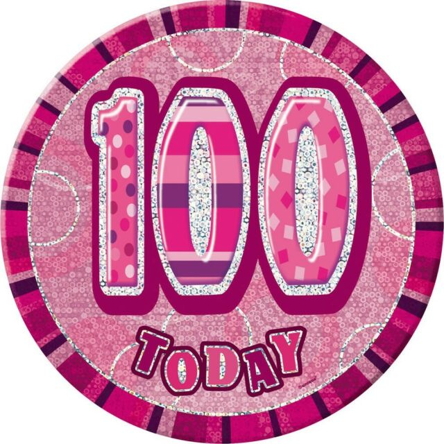 """6"""" Pink Sparkle Giant 100th Today Prismatic Party Badge"""