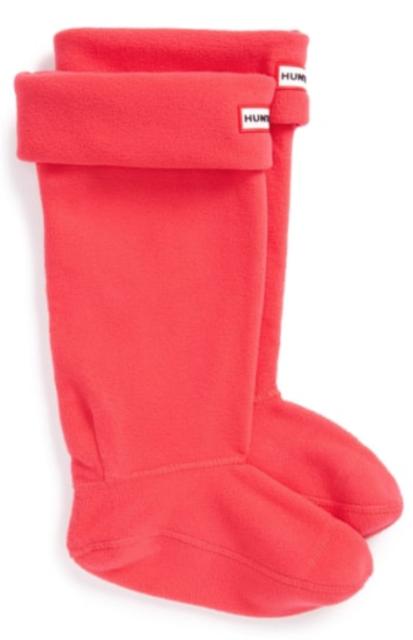2b46f3984 Hunter Original Womens Bright Coral Tall Fleece Welly Boot Socks Sz L 8413