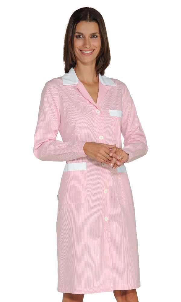 Camice Donna Pulizie Grembiule Lungo Rigato rosa Cotone Cameriera Cameriera Cameriera Colf Tata 8ffa9b
