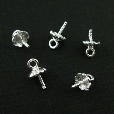 Sterling Silver Peg Bail Caps for Half Drilled Pearls-Fancy Top,Bright Silver/_10