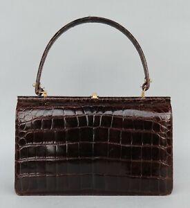 Antike Echt Leder Damen Handtasche - 30 x 20 cm - um 1960