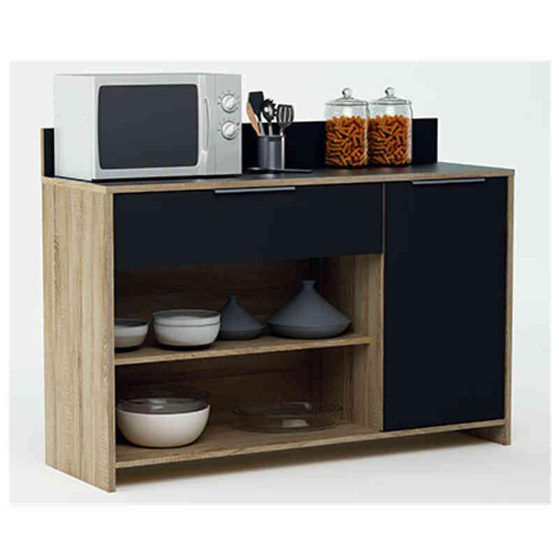 Mueble auxiliar cocina, 1 armario y 1 cajón color roble y negro ...