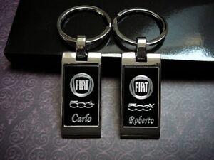 FIAT-500-S-500-C-500-X-PUNTO-TIPO-STILO-DOBLO-PANDA-portachiavi-incisione-nome
