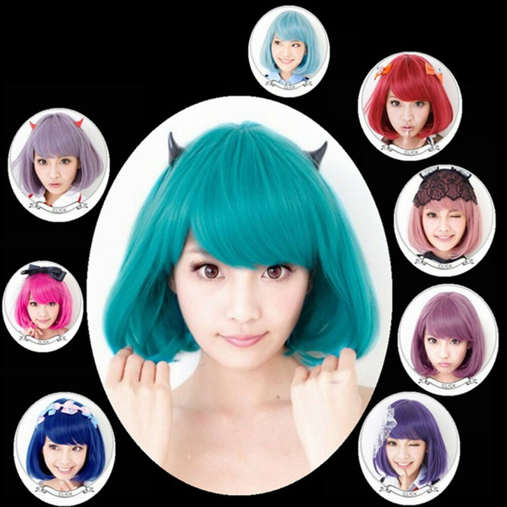 Anime Costume Cosplay Straight Curly Hair Wig Women Lovely Bob Hairpiece Divine Hair Care & Styling