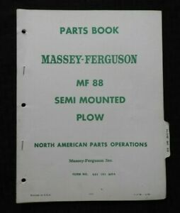 1968-Massey-Ferguson-Mf-88-Semi-Mounted-Charrue-Pieces-Catalogue-Manuel-Belle