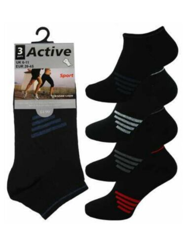 3 Uomo Nero a Righe Active Sport cotone ricco Trainer calzini Liner UK 6-11