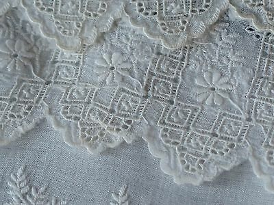 Vtg Antique Victorian Whitework Hand Embroidered Lace Trim Flounce Yardage